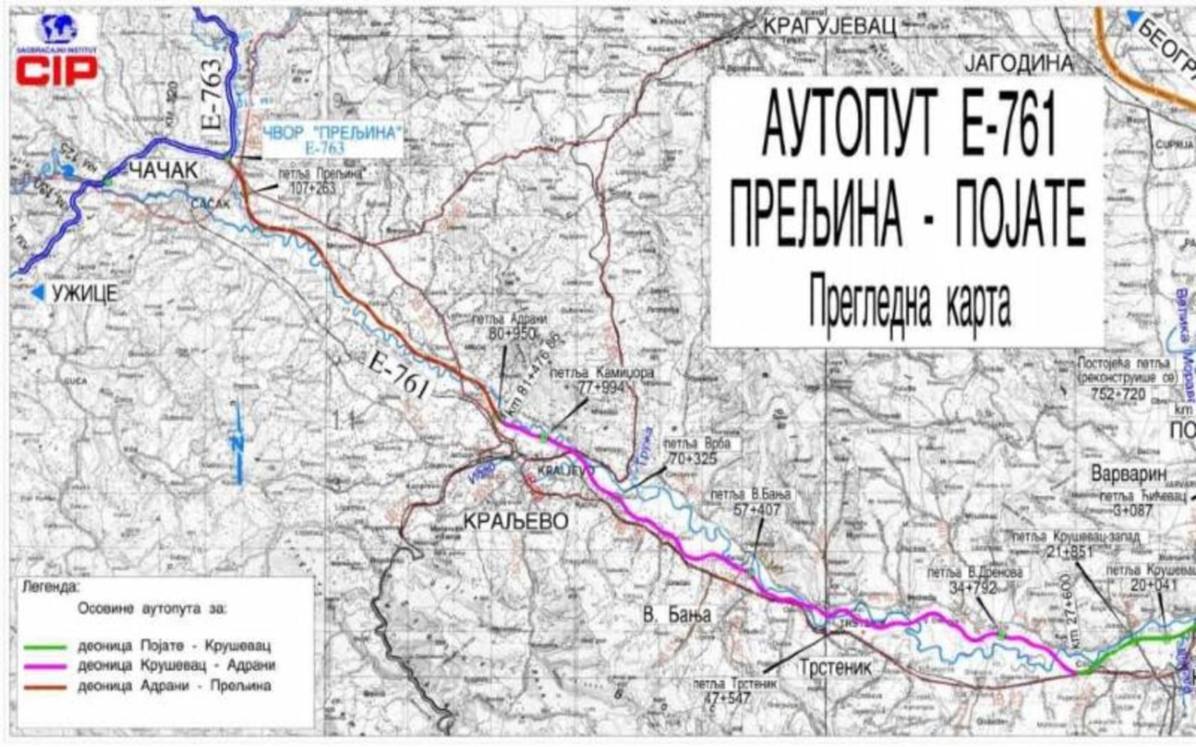 Detaljna Trasa Moravskog Koridora Mapa